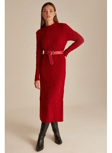 Mimoza Bisiklet Yaka Saç Örgü Triko Elbise - Gri Kırmızı